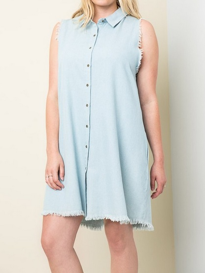 HAYDEN LOS ANGELES DENIM SHIRT DRESS F.FIGURED -