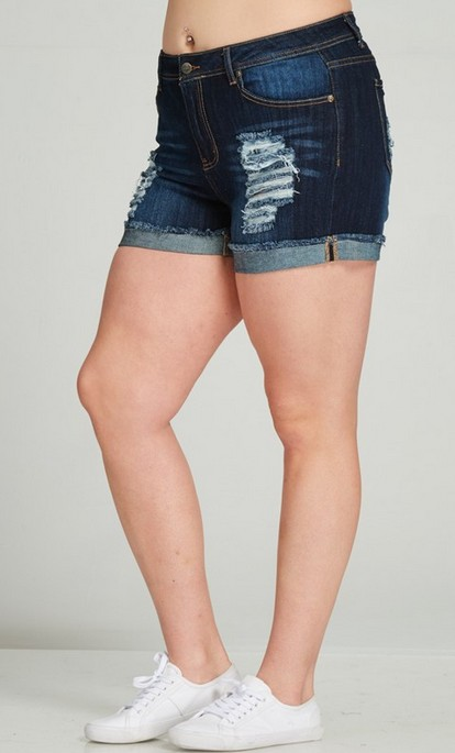 DARK DISTRESSED Full-Figured Shorts -