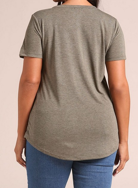 Softree Plus Size Jersey Knit Tee w/Pocket F.FIGURED -