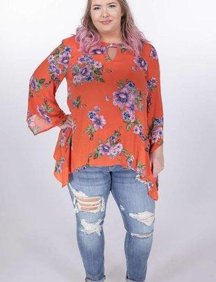 Oddi Orange Floral Ring Neck Blouse -