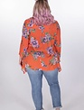 Oddi Red Floral Ring Neck Blouse -