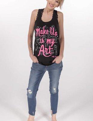 "Pinky Star Pinky Star- ""Makeup is My Art"" Racerback Tank -"