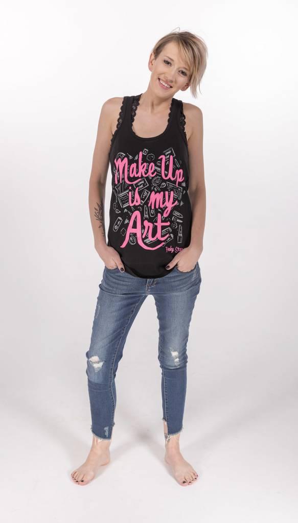"Pinky Star- ""Makeup is My Art"" Racerback Tank -"
