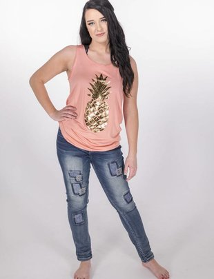 Coral Pineapple Gold Print Tank -
