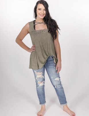 POL Olive Criss Cross Lace Tank -