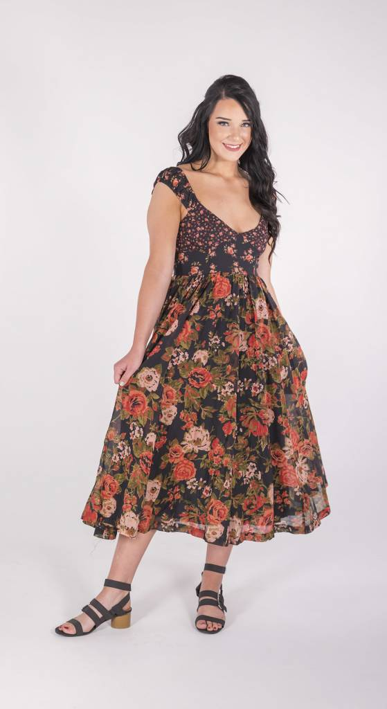 """Free People Love You Midi Dress """"FLORAL"""""""