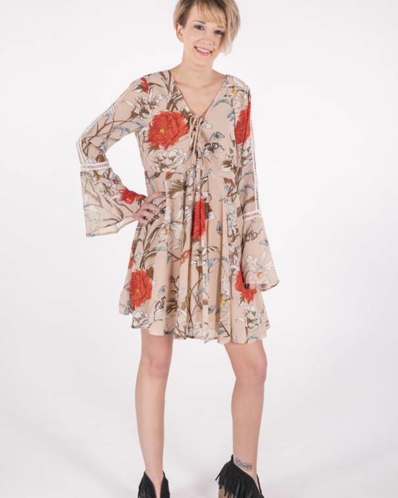 Umgee FLORAL BELL SLEEVE DRESS -