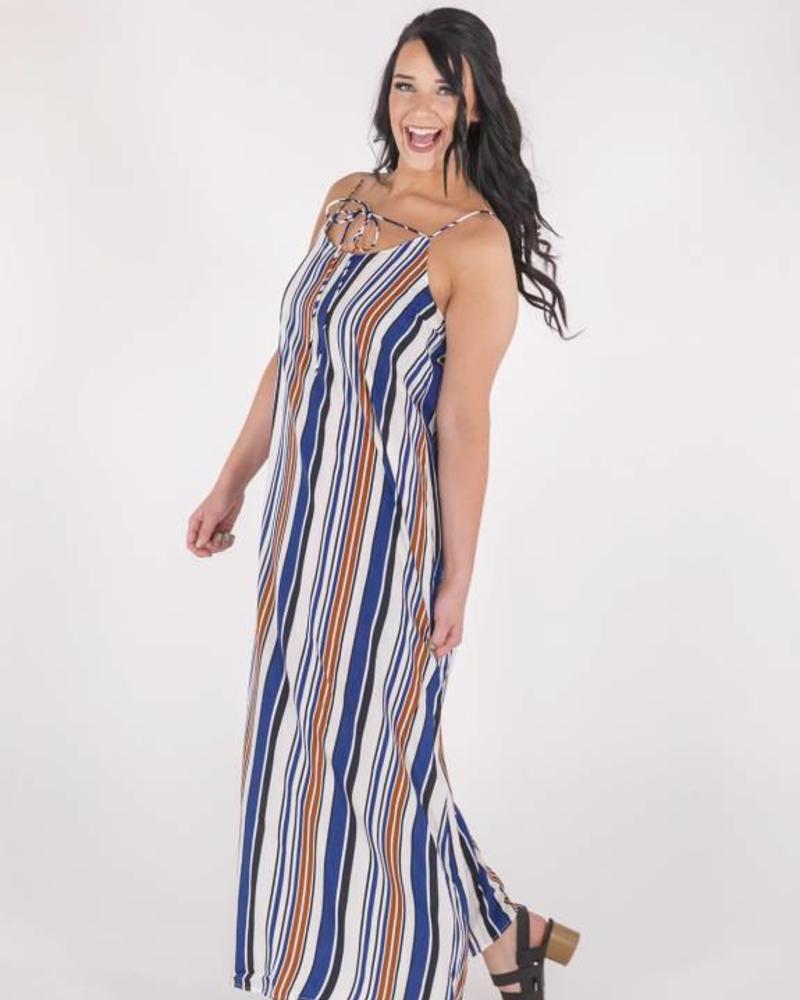 HAYDEN LOS ANGELES STRIPED NAVY/RUST MAXI DRESS  -