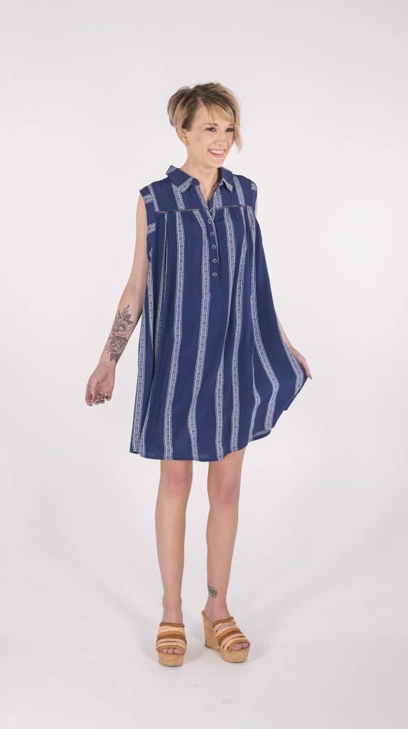 Miss Me Navy Button Down Sleeveless Dress -