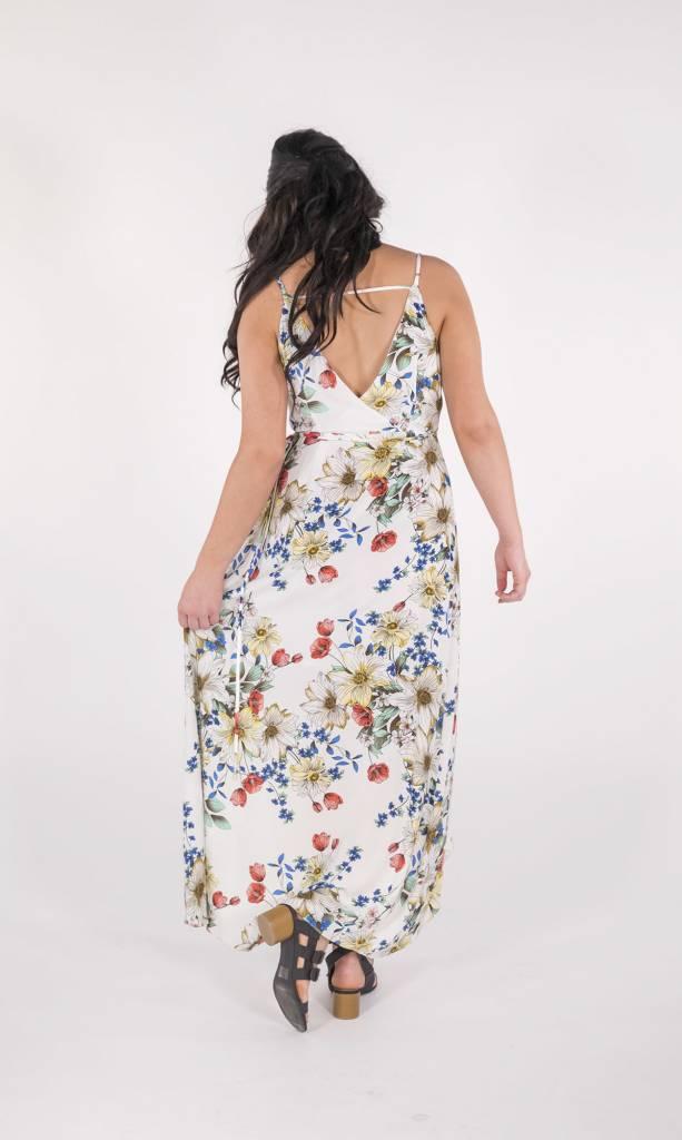 Miss Me Floral Print Surplice Maxi Dress -