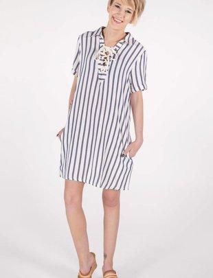 Miss Me Lace Up Striped Dress -