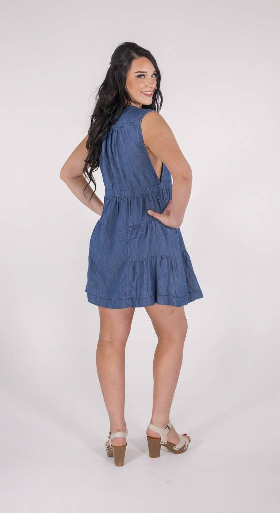 Free People BLUE DENIM V-NECK DRESS Free People -