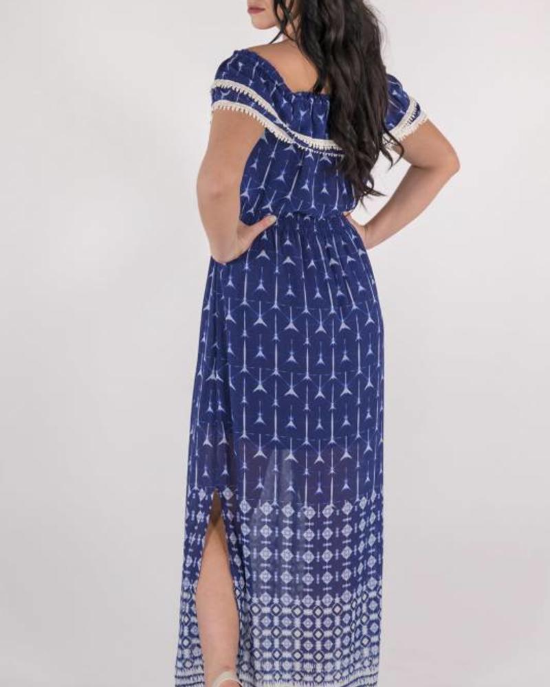 Miss Me Miss Me - Navy Off The Shoulder Maxi Dress -