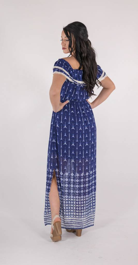 Miss Me Miss Me - Navy Off The Shoulder Maxi Dress -