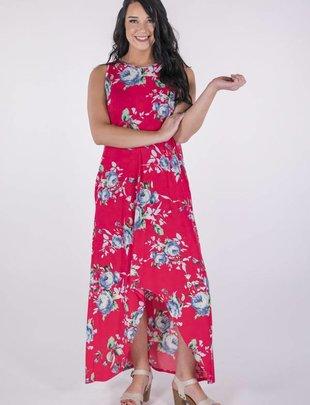 Hot Pink Floral Print Hi-Low Maxi Dress -
