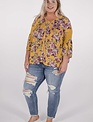 Mustard Floral Button Down Blouse -