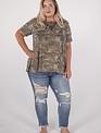 Oddi Short Sleeve Camo Top W/Lace detail -