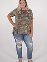 Short Sleeve Camo Top W/Lace detail -
