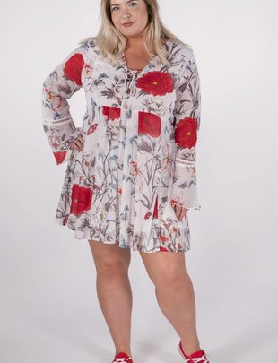 Umgee White Floral Dress w/Bell Sleeve -