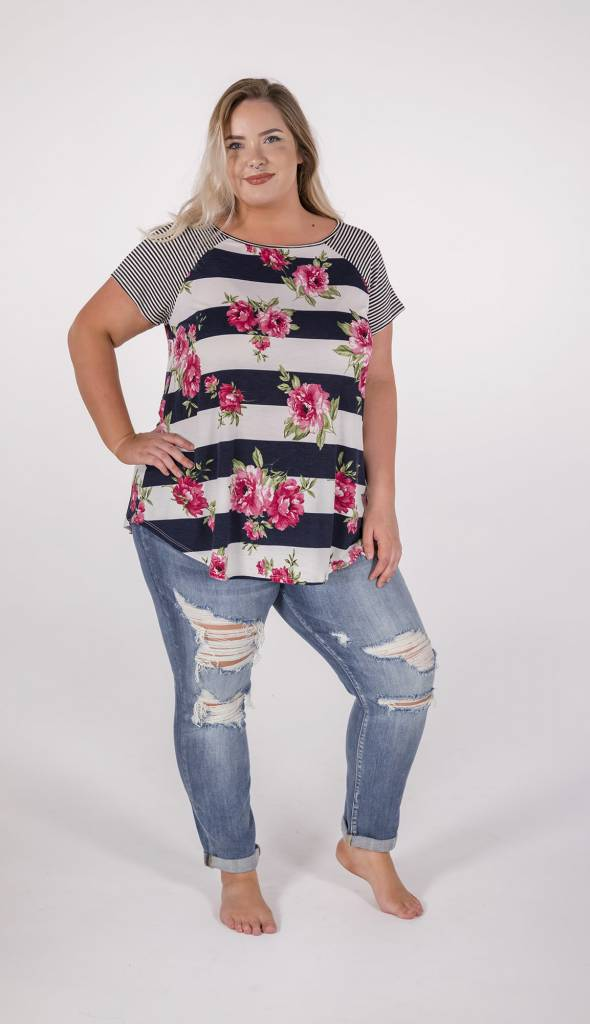 """Navy Blue & Floral Striped """"curvy"""" Tee -"""