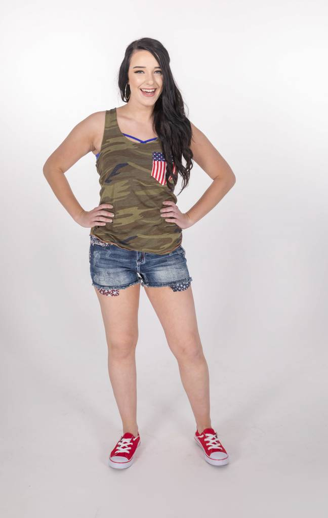 Army Print Tank w/Flag Pocket  -