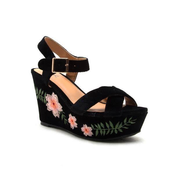 Ardor- Black Velvet Floral Wedge -