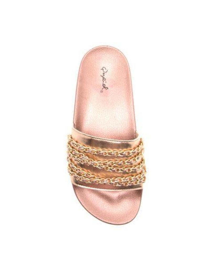 Rose Gold Metallic Chain Slide -