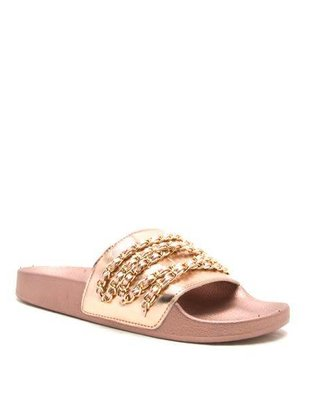 Rose Gold Metallic Chain Slide -