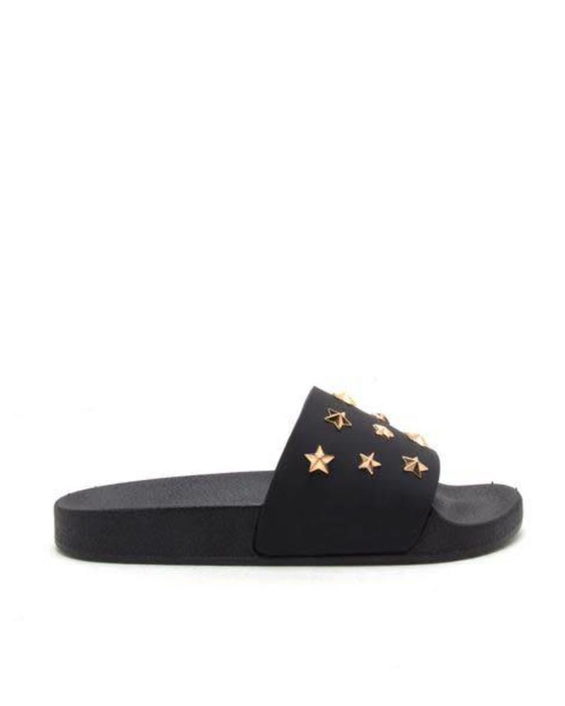 Black Matte Star Studded Slide -