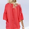 Coral Button Down Front Tie Knot