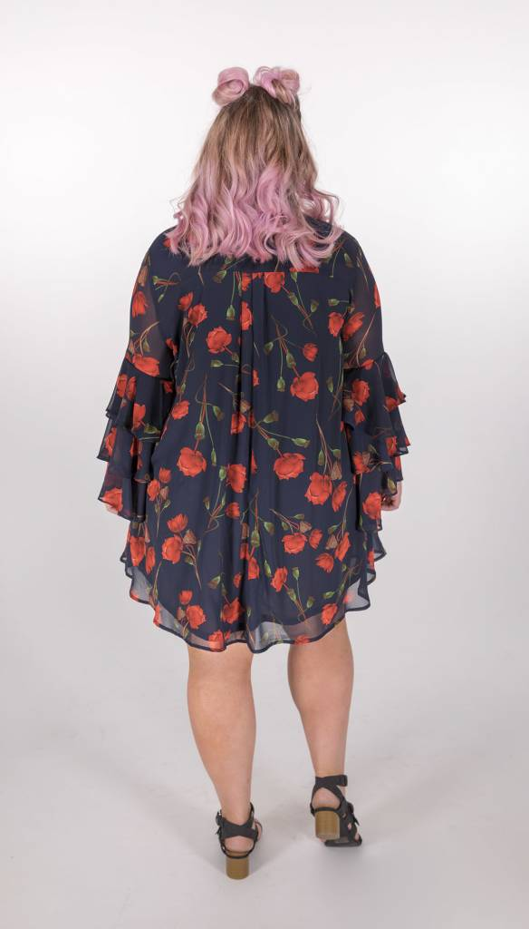 Umgee Navy Floral Dress w/Ruffle Sleeves