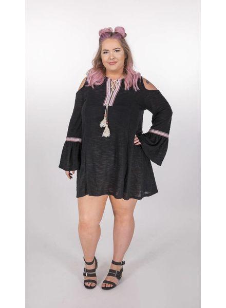 HAYDEN LOS ANGELES Black Knit Dress W/Shoulder Cut F.Figured -
