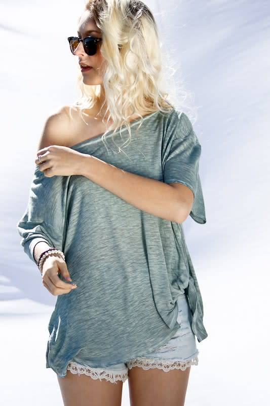 My Story SHORT SLEEVE WASHED KNOT TOP-