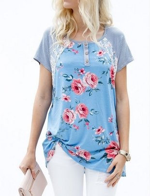 FLORAL PRINT BUTTON DETAILED TOP-