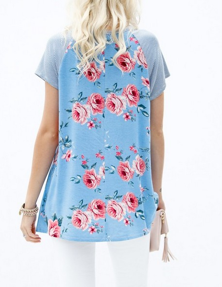 My Story FLORAL PRINT BUTTON DETAILED TOP-