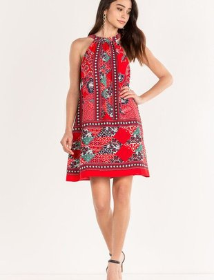 Miss Me Miss Me- Red Hibiscus Halter Dress -