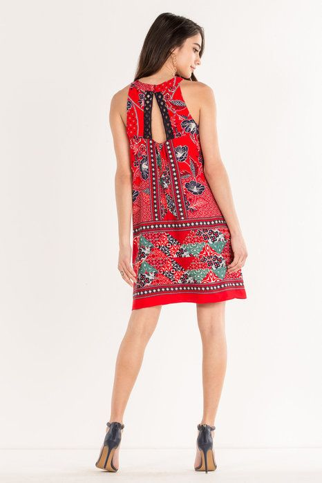 Miss Me Miss Me- Red Hibiscus Halter Dress -