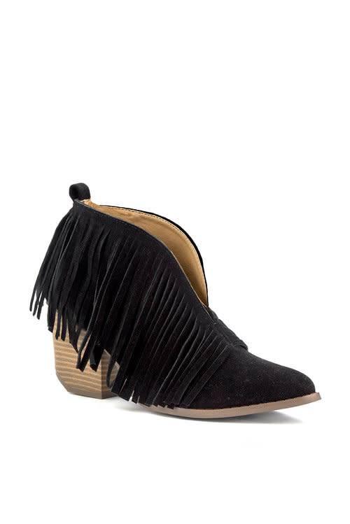 Beast Black Open Arch Fringe Bootie W/ Short Heel