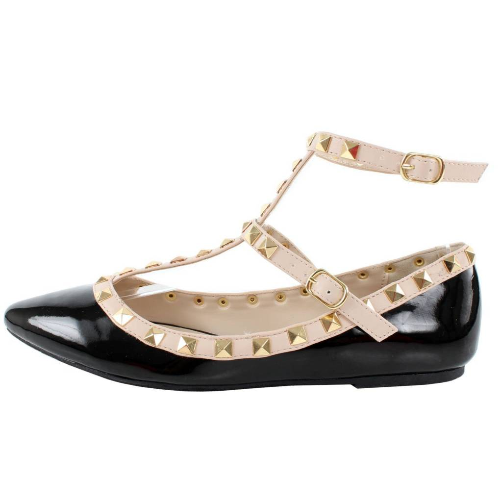 Black and Ivory Studded Strap Flats