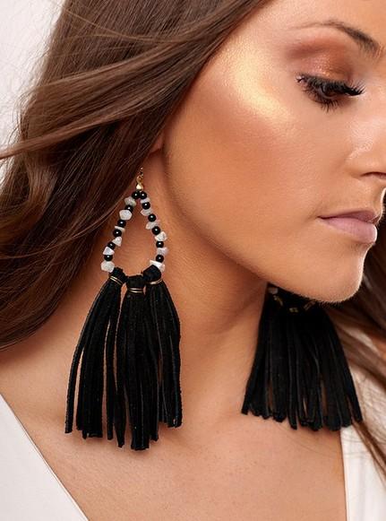 Black Suede Tassel Beaded Earrings