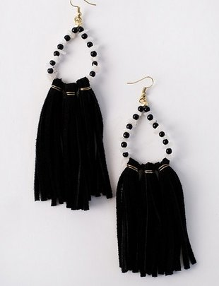 Black Suede Tassel Beaded Earrings