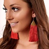 Red Filigree Drop Fringe Earrings -