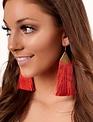 Red Filigree Drop Fringe Earrings -