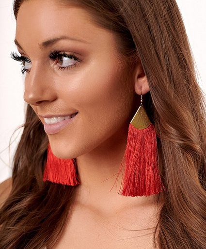 Boho Love Red Filigree Drop Fringe Earrings -