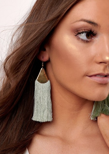 Mint Filigree Drop Fringe Earrings -
