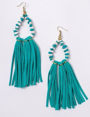 Turquoise  Suede Tassel Beaded Earrings