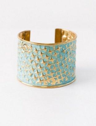 Distressed Boho Gold/Teal Brass Cuff