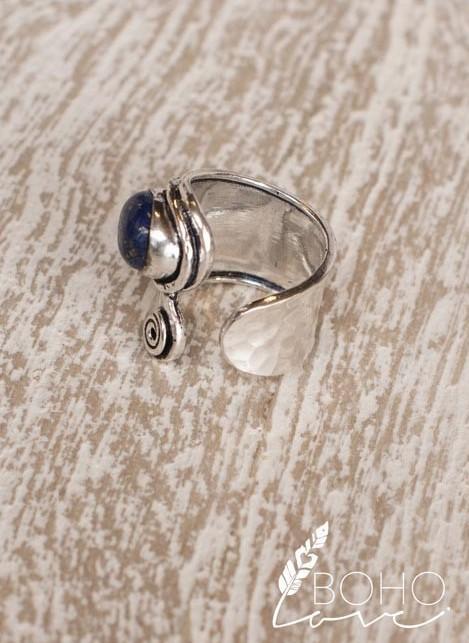 Boho Love Silver Ring W/Blue Gem