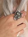 Antique Silver Jade Gemstone Ring