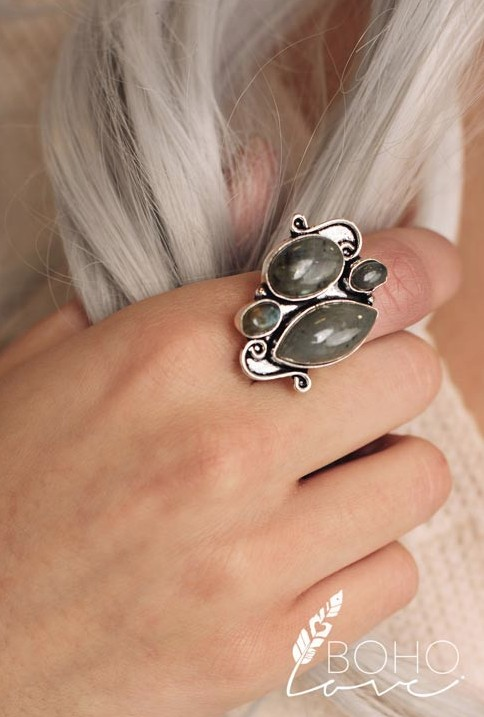 Boho Love Antique Silver Jade Gemstone Ring